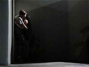 Asa Akira jacks as she sees a crazy duo