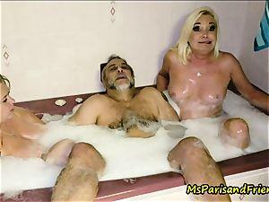 The Trailer Park warm bath with Ms Paris and mates