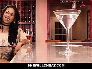 SheWillCheat - hotwife wifey fucks bbc in bathroom