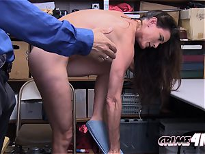 Sofie Marie pays for her stealing crime by taking insane officers enormous prick