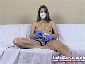 without bra lady with medical mask and belt dick