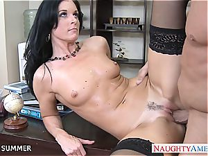 India Summer looks fabulous in high high-heeled slippers getting drilled