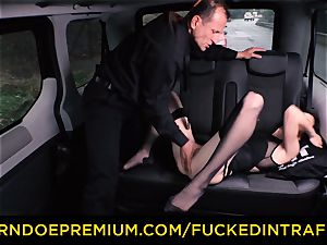 humped IN TRAFFIC Russian honey porked in the cab car