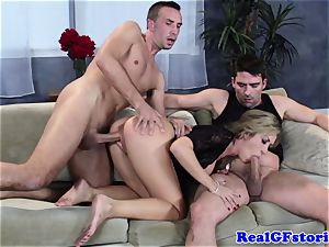 steamy ash-blonde buxomy cougar threesome bang