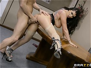 super-naughty brown-haired Romi Rain boinked in her taut labia