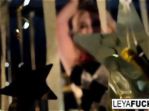 super-sexy Leya Falcon unclothes at a gold facialed unclothe club