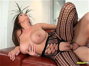meaty boobied sensual Jane screws in fishnet