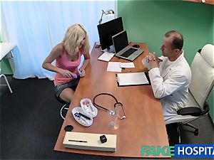 FakeHospital platinum-blonde patient playing with her cunny