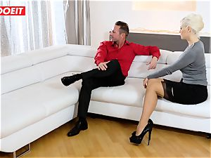 mother and Stepdaughter take good care of their Step daddy