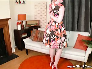 blond strips retro underwear strokes in high-heeled slippers nylon