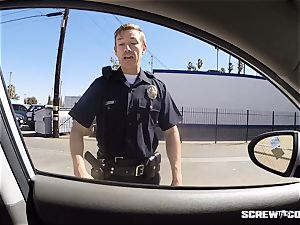 CAUGHT! dark-hued female gets busted deep throating off a cop