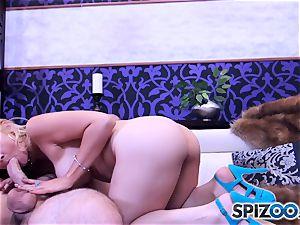 Sarah Vandella throating and pounding a huge lollipop
