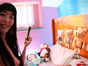 japanese star Marica Hase plays with candy dick