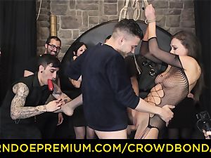 CROWD restrain bondage - extreme domination & submission pulverize wheel with Tina Kay