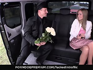 humped IN TRAFFIC - jizm on donk for super-naughty slim blondie