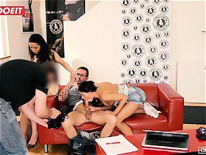 european babes love rectal threeway during casting