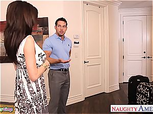 Brunettes India Summer and Veronica Avluv share a man-meat