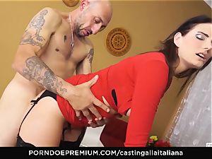 casting ALLA ITALIANA - huge-boobed dark haired likes humid anal invasion