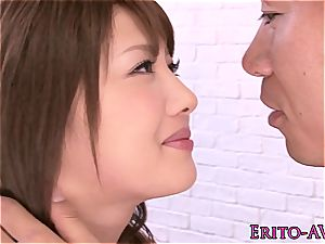 scorching asian Mei Aso painted white after blowing shaft