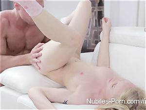 Nubiles pornography - jism running in rivulets down ash-blonde sweeties face