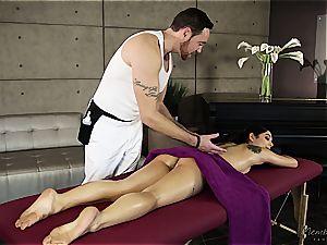 smallish Gina Valentina gets lubricated up and massaged