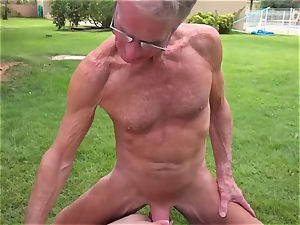 two grandfathers fuck a light-haired hair gal tonguing puss