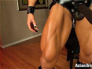 perv sport model with phat black strap on dildo