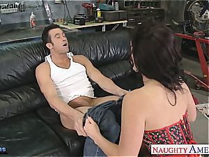 Jayden James opens broad to fit his enormous man meat inside her