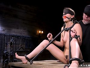 trussed in doggy device babe gets cropped