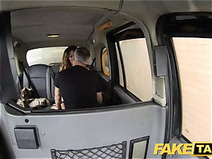 fake taxi tossing salad tanned stunner with tiny pinkish vag