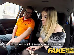 fake Driving college petite learner with diminutive orbs