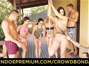 CROWD bondage Outdoor pool bang-out for steamy Loren Minardi